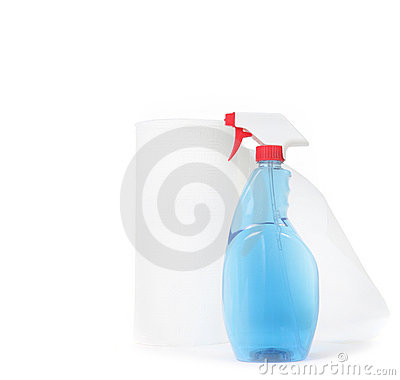 Window Cleaner and Paper Towels on White Backgroun