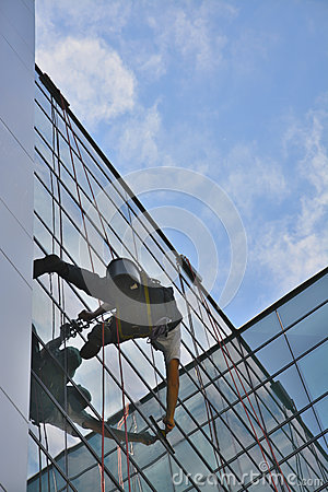 Free Window Cleaners On Office Building, Photo Taken 20.05.2014 Royalty Free Stock Photo - 45238245