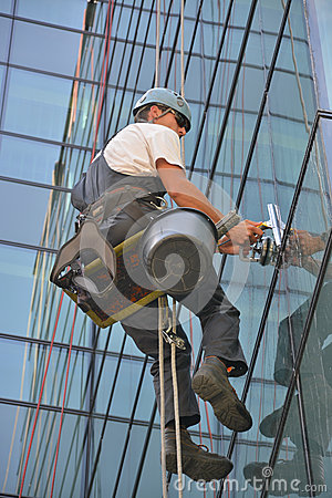 Free Window Cleaners On Office Building, Photo Taken 20.05.2014 Royalty Free Stock Image - 45238666