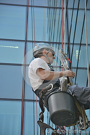 Free Window Cleaners On Office Building, Photo Taken 20.05.2014 Royalty Free Stock Photography - 45238777
