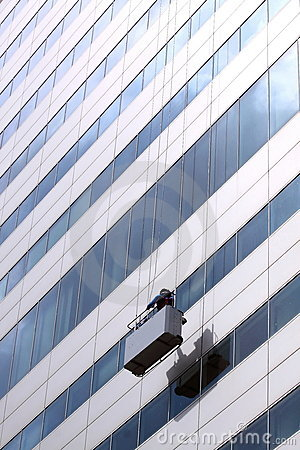Free Window Cleaning Service At Work High Altitude Royalty Free Stock Photography - 19833007