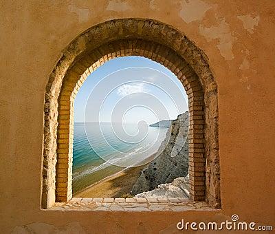 Window on the coastal landscape of a bay