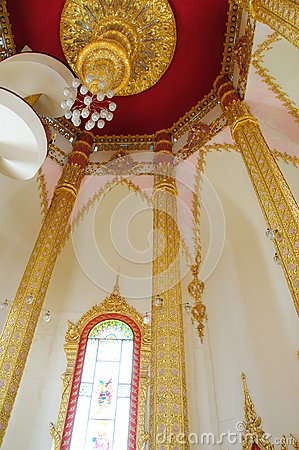 Window and column in thai temple