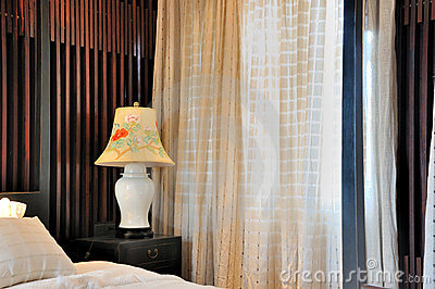 Window curtain and interior decoration of bedroom