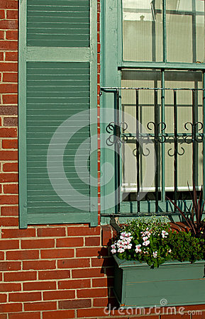 Window detail in old brick house