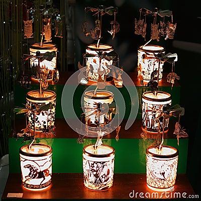 Lighted festive lanterns window display Stock Photo