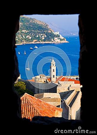 Window and Dubrovnik in Croatia