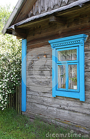 Window on the facade of an old house