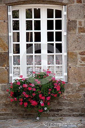 Window with Flower Decoration