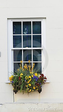 Window with flowers.Guernsey