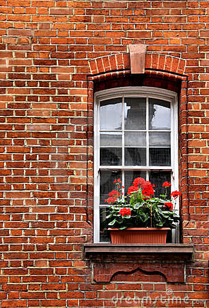Window with geraniums Stock Photo