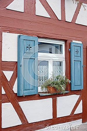 Window of half timbered house