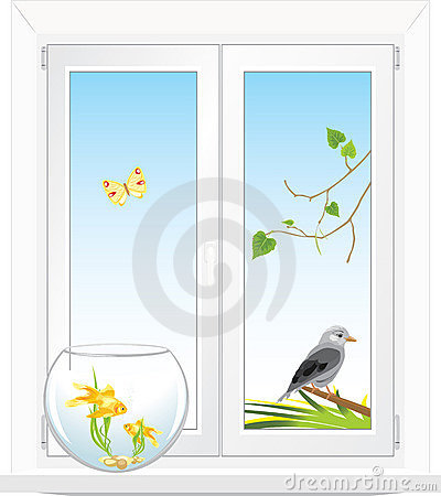 Window with a kind in a garden