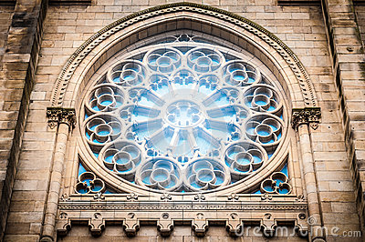 Window in medieval gothic style in Spain, Europe.