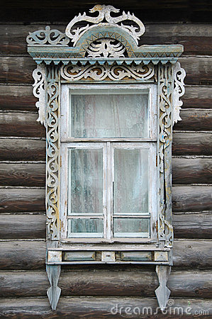 Free Window Of An Old Russian House Royalty Free Stock Photo - 21818045
