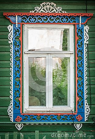 Free Window Of Old Traditional Russian Wooden House. Stock Images - 29502834