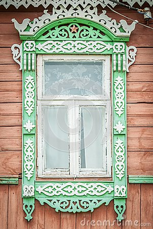 Free Window Of Old Traditional Russian Wooden House. Royalty Free Stock Images - 29502849