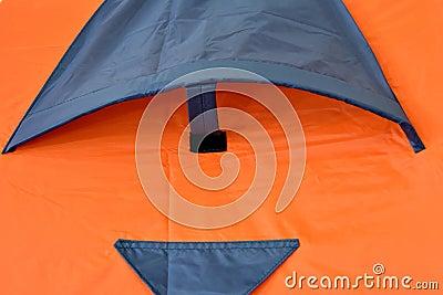 Window of orange tent