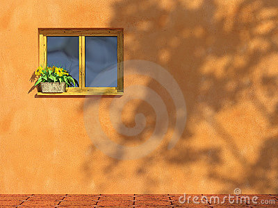 Window on orange wall