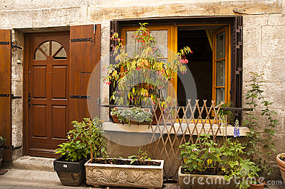 Window plants flowers Brantome France