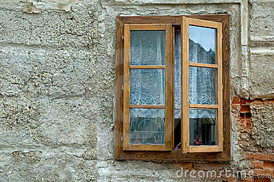 Window on plaster wall