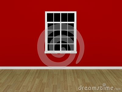 The window on the red wall in empty room