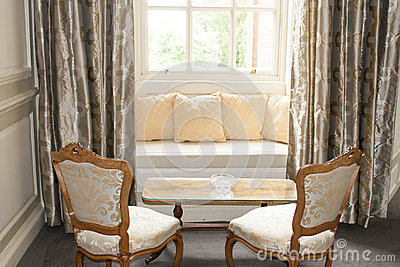 Window seat and drapes