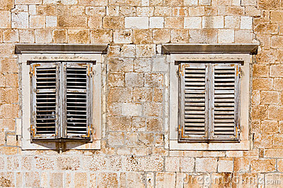 Window shutters on old house