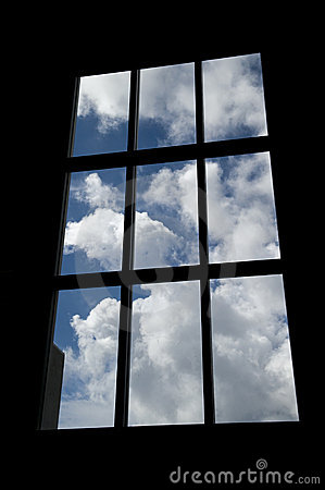 Window Silhouette with Clouds
