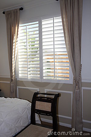 Free Window Treatment In Bedroom Stock Image - 7324291