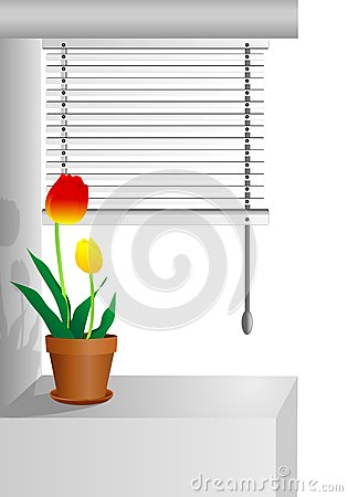 Window with tulips, cdr vector