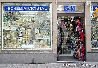 Bohemia crystal shop in Prague Editorial Photo