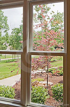 Window View Of Front Yard Royalty Free Stock Image Image