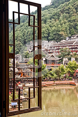 Free Window View Of Fenghuang Village Stock Photo - 60182790