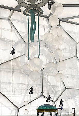 Window Washers inside the Water Cube Editorial Stock Image