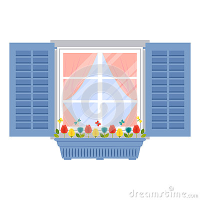 Free Window With Shutters And Flowerpot In Flat Style Stock Photo - 58485770