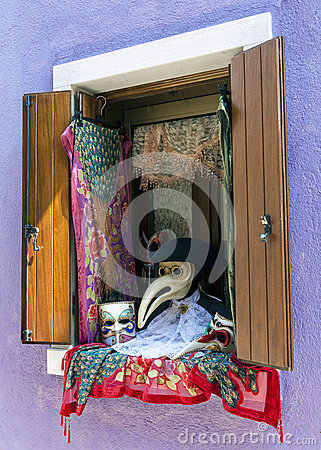 Free Window With Venetian Carnival Accessories Stock Images - 54930574