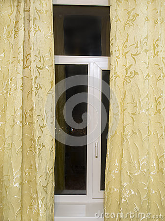 Free Window With Yellow Curtains Royalty Free Stock Photos - 36794328