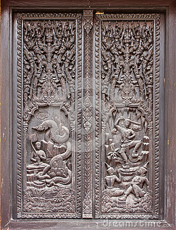 Window woodcarving in temple