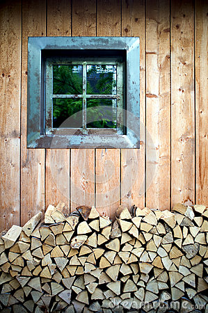 A window of wooden hut