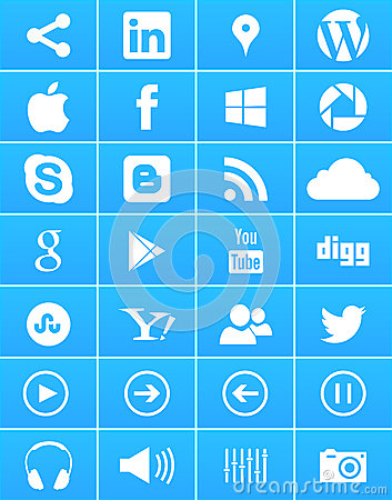 Windows 8 Social Media Icons Editorial Photo