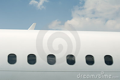 Windows of an airplane outside