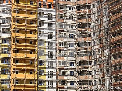 Windows and balcony facade of modern house