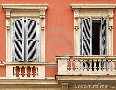 Windows and balcony in Rome