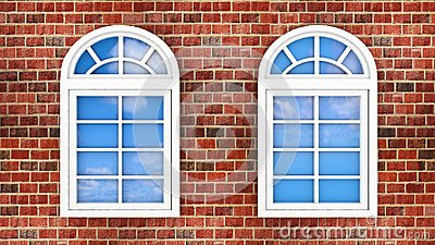Windows on the brick wall