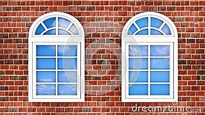Windows on the brick wall