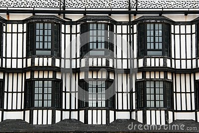 Windows of a british style building