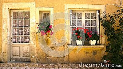 Windows with flowers Saint Jean de Cole France