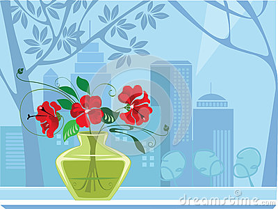 Windows and flowers in vase