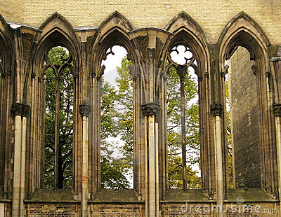 Windows of gothic cathedral